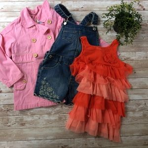 Lot Of Girls Clothes Size 5T Coat Dress Overalls